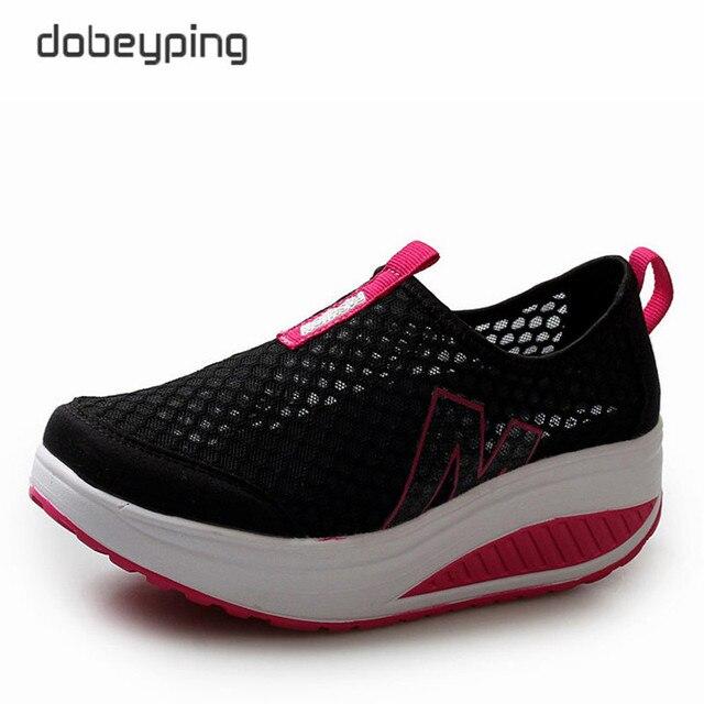 Nowe letnie buty damskie oddychająca siatka powietrzna damskie mokasyny platformy kobiece mieszkania buty Casual kliny buty damskie buty do jazdy samochodem