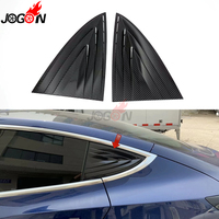 Carbon Fiber Look For Tesla Model 3 2017 2019 Rear Door Window Corner Triangle Vent Cover Trim Plastic Acccessories
