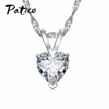 PATICO Romantic Heart CZ Pendant Necklace For Women Ladies 925 Sterling Silver 18