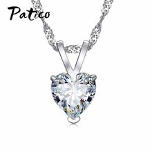 "PATICO Romantic Heart CZ Pendant Necklace For Women Ladies S90 Silver Color 18""Chain Jewelry Lover Valentine's Day Gifts(China)"