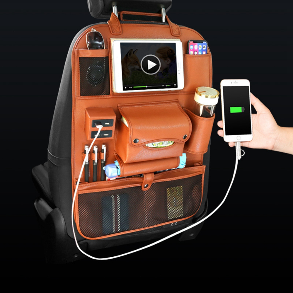 4 USB Charger Storage Pu Leather Travel Multifunction Pocket Stowing Tidying Auto Accessories Car Seat Back Bag Car Organizer
