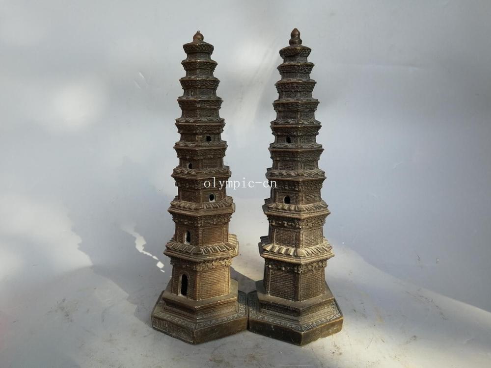 Paire 15 bronze folk maison fengshui temple pagode stupa dagoba statuePaire 15 bronze folk maison fengshui temple pagode stupa dagoba statue