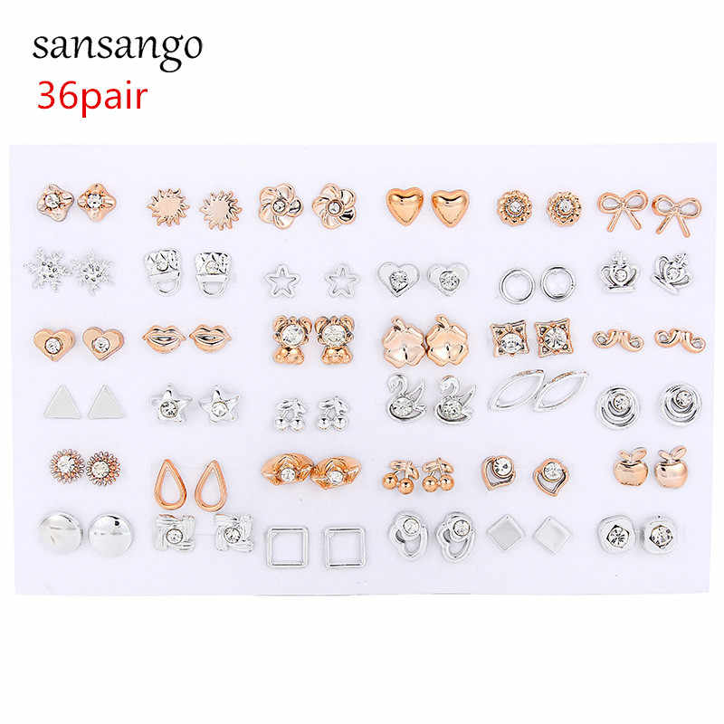 36Pairs/lot Fashion Mixed Styles Crystal Bow Sun Flower Animals Stud Earrings For Women Jewelry Wholesale Support Dropshipping