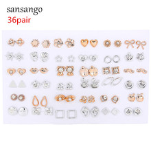 36Pairs/lot Fashion Mixed Styles Crystal Bow Sun Flower Animals Plastic Stud Ear