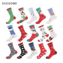 Christmas Socks High quality Soft Winter Year end Celebration Christmas Gift Cartoon Couple Snowman Snowflake Santa Claus Socks