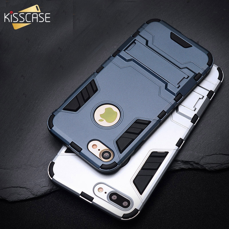 KISSCASE Cool Armor Case For iPhone 6 6s Plus Hybrid Shockproof Phone Cover For iPhone 5 5s SE 7 8 Plus Anti-knock Cases Fundas