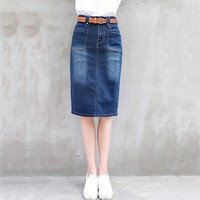 Denim skirt for womens 2019 New Spring Summer High waist Package hip skirt Blue jeans skirt Slim female Sexy skirts LU850