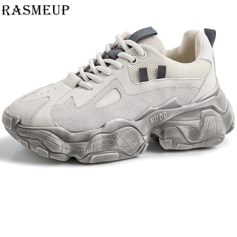 RASMEUP Genuine Leather Fashion Women s Chunky Sneakers 2019 Spring Summer Women Platform Trainers Casual Woman