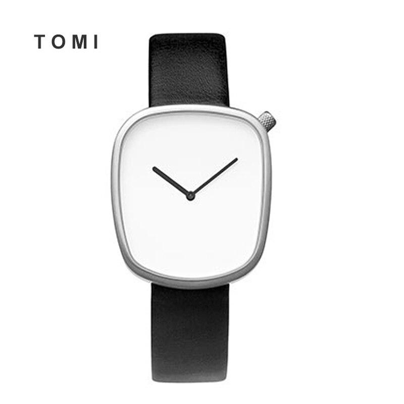 Prix pour Noir tomi De Galets en cuir Lady Creative montre minimaliste de quartz de mode montre homme et neutre femmes montre Avec emballage