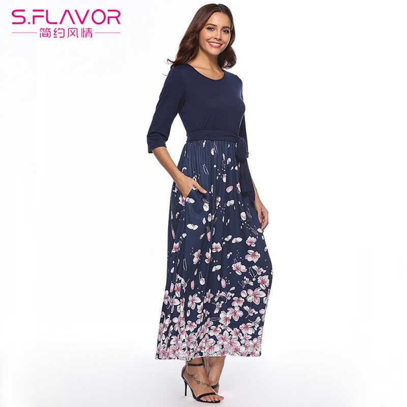 S. FLAVOR повседневное длинное платье макси с принтом женское платье с коротким рукавом и круглым вырезом в стиле пэчворк сексуальные платья для вечеринок весеннее тонкое элегантное винтажное платье