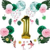 Flamingo verão primeiro festa de aniversário decoração kit plissado lanternas de papel folha de ouro balão folhas palmeira havaiano tropical festa|Decorações de festas DIY| |  -