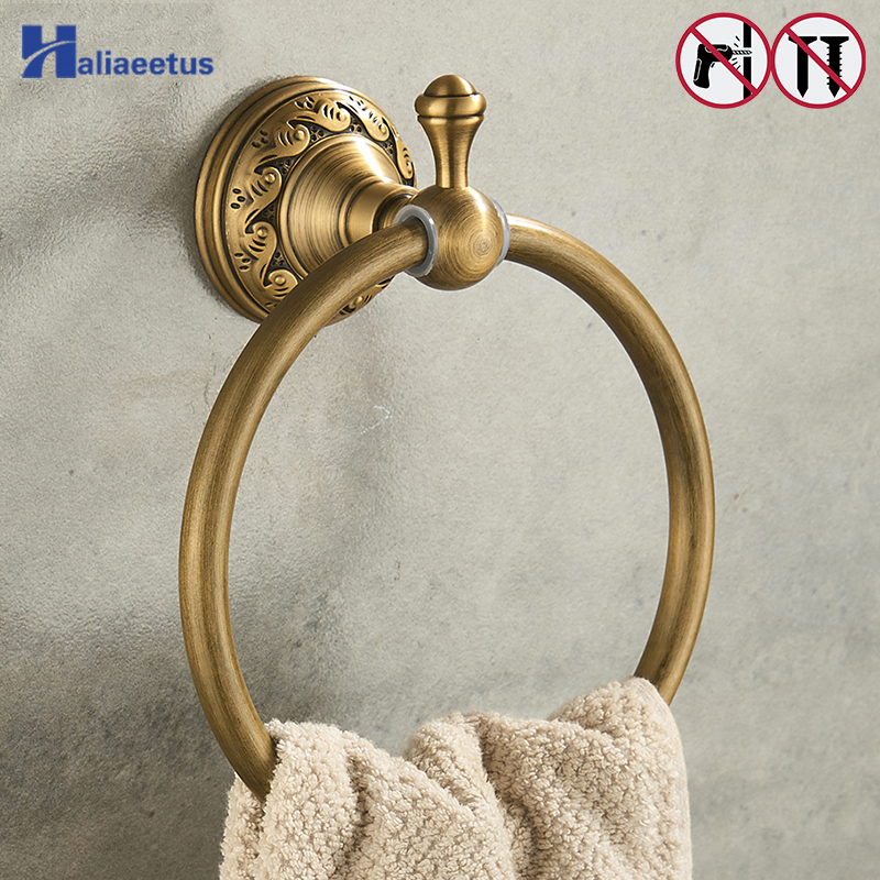 Nail Free Towel Ring Antique Bronze Classic Bathroom Accessories Bath Towel Holder free shipping european luxurious antique bronze towel ring towel holder towel rack bathroom accessories wholesale 66007b