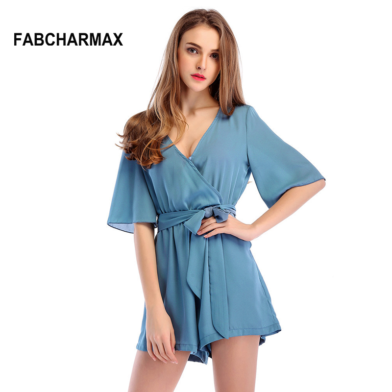 5 color casual sashes chiffon romper womens jumpsuit cross v neck belted ladies wrap beach playsuits summer sexy short jumpsuits