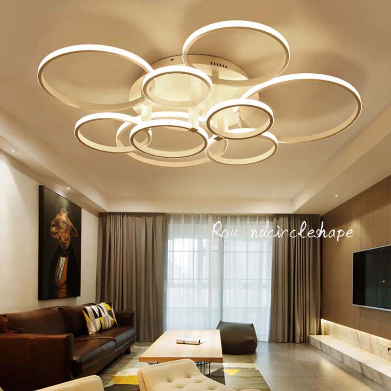 NEW Minimalist living Study room bedroom Circle Rings Modern Led Chandelier lights lamp Aluminum White chandeliers fixtures black or white rectangle living room bedroom modern led ceiling lights white color square rings study room ceiling lamp fixtures
