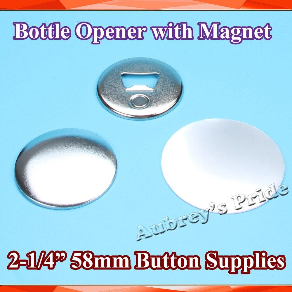 """2 1/4 """"58mm 100 Sets van Flesopener met Magneet Nickle Kenteken Supply Materialen voor NIEUWE professionele Badge Button Maker-in Knoop & Badge Onderdelen van Huis & Tuin op  Groep 1"""
