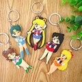 Anime Figuras Sailor Moon Figure Toys Super Moon Mercury Mars Jupiter Venus Keychain Pendant 2 Sides