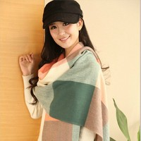 2017 новых внешней торговли большой платок вуаль геометрическая трехцветный полосатый бахромой шарфы солнцезащитный крем платок