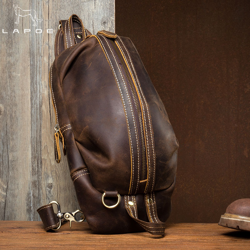цены LAPOE Genuine Leather Men Bag male chest bag travel shoulder Man Crossbody Bags Men Messenger Bags Phone Sling Chest Pack