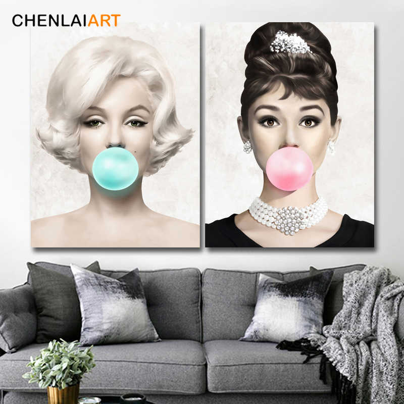 Marilyn Monroe Audrey Hepburn Balloon Poster and Prints Canvas Painting Pictures For Living Room Home Decor Wall Art No Frame