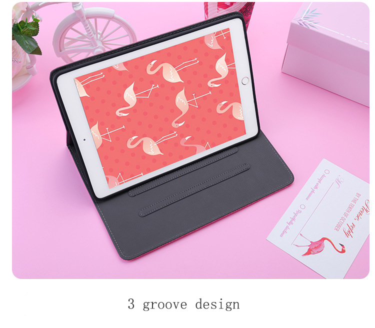 3D Flamingo Embroidery Soft Stand Cover Smart Sleep Wake up Flip Case for apple iPad Mini 2 3 4 Air Pro 9 7 2019air 10 5 in Tablets e Books Case from Computer Office