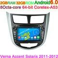 Android 6.0 Octa Núcleo computador de Bordo Unidade de navegação GPS DVD Player para Hyundai Verna Accent Solaris 2011 2012 2013 wifi 4G PC