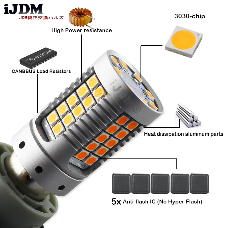iJDM 4pcs Canbus Error Free BAU15S LED No Hyper Flash Amber Yellow 3030 LED 7507 1156 LED Bulbs For car Turn Signal Lights ,12V