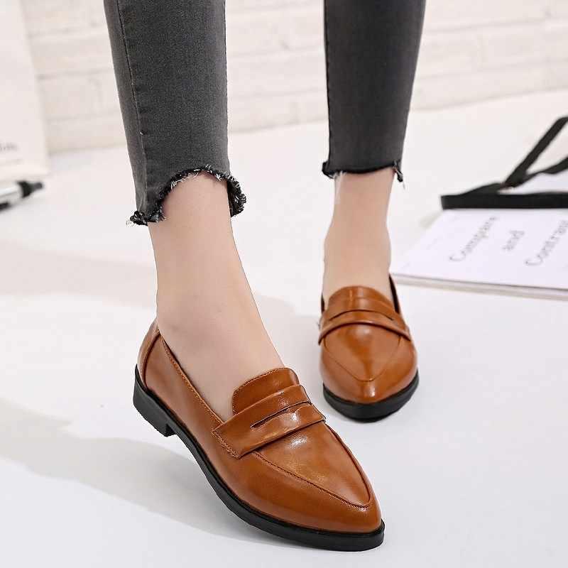 fff522c151 2018 Women's Shoes Sharp head Low-heel Heel Single Shoes Comfortable PU Leather  Shoes Black