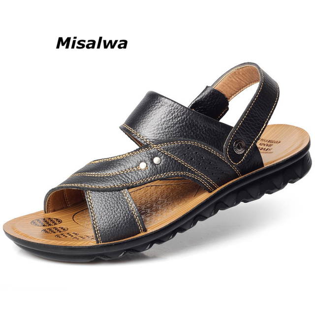 Hot Sale 2018 Summer Genuine Leather Sandals Brand Quality Cheap Beach Men Sandals Slippers Men Casual Sandals Free Shipping