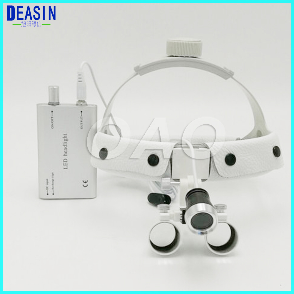 High quality Dental Surgical Binocular 3.5 X 420mm Leather Headband Loupe and LED Headlight White 2017 blue high quality magnification 2 5x dental loupe with portable led headlight lamp 188044 uc