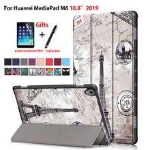 Funda Huawei Mediapad M6 10,8 de cuero plegable magnética