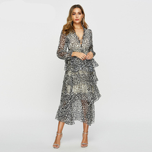 Women Cake Style Long Sleeve Vacation Chiffon Dress Autumn Print Leopard Streetwear Loose Dresses Ladies Robe