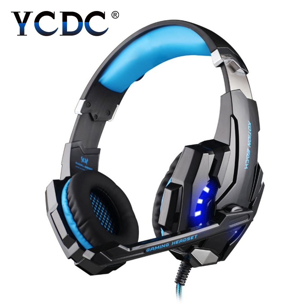 EACH G9000 Pro USB 3.5mm Gaming headphone Stereo Bass Gamer Headsets With Microphone LED Lights For PS4 PC Computer Laptop Game led bass hd gaming headset mic stereo computer gamer over ear headband headphone noise cancelling with microphone for pc game