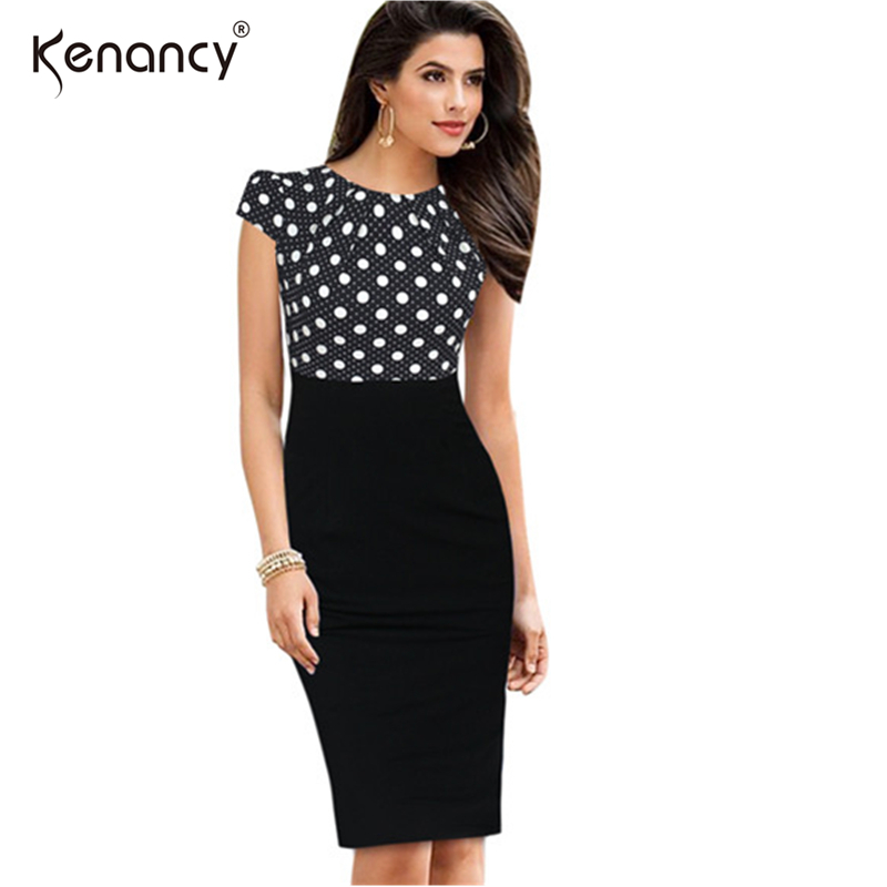 Kenancy Summer Women Bodycon Pencil Office Dress Vestidos