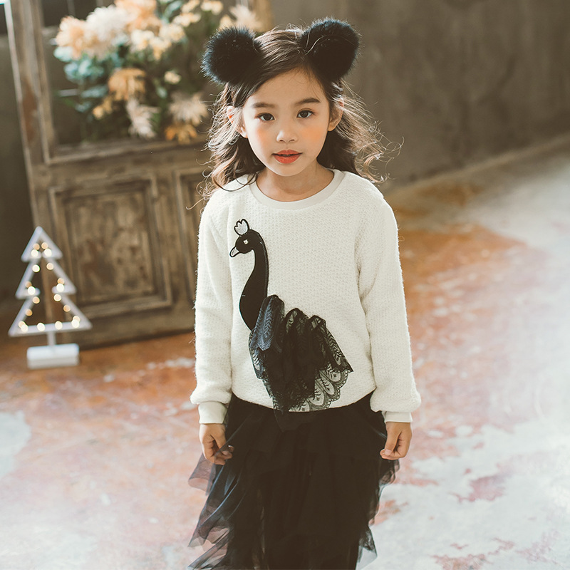 2017 Herbst Winter Neue Koreanische Neuartigen Stil Kinder Perlen Gaze Elegant Kleiner Schwan Pullover Doppel Warme Baby Pullover Weben Sparen Sie 50-70%