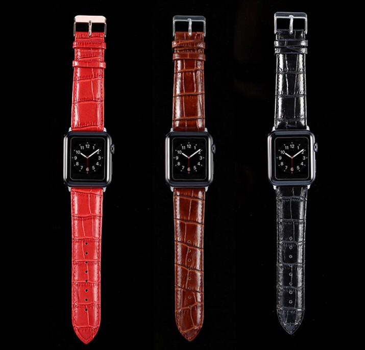Series 4/3/2/1 100% Crocodile Genuine Leather With Adapter Strap For Apple Watch Band 44/42MM/40/38MM For Iwatch Sports Buckle