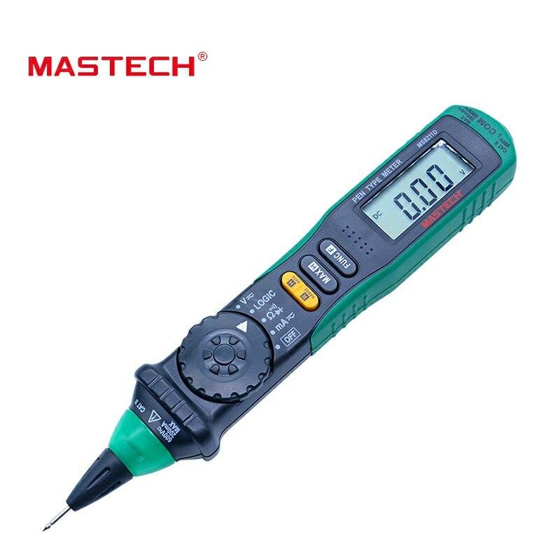 MASTECH MS8211D Digital pluma multímetro medidor de tipo Auto de la gama multímetro Digital Multitester probador de voltaje de corriente lógica probador de nivel de