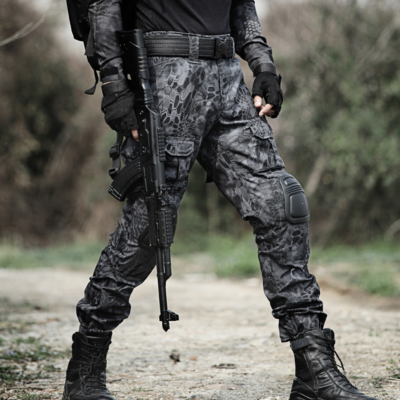 Military Black Python Hunting Pants With Knee Pads Army