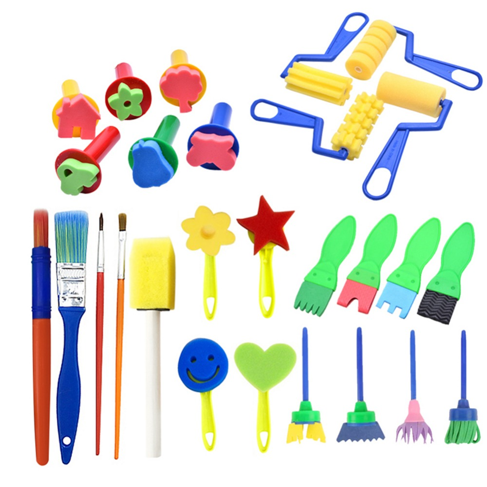 27pcs /Set DIY Painting Tools Stamps Toys Flower Stamp Sponge Brush Set Art Supplies For Kids