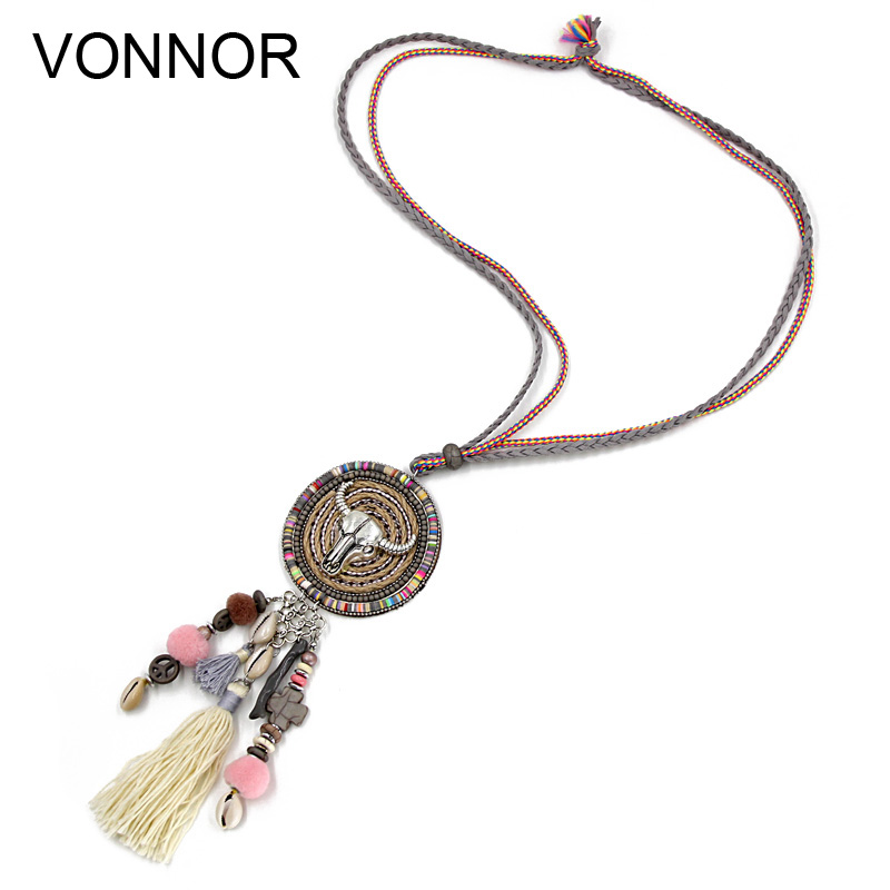 VONNOR Jewelry Handmade Necklace Women Bohemia Accessories Tassel Natural Shells Boho Long Necklace Pendant