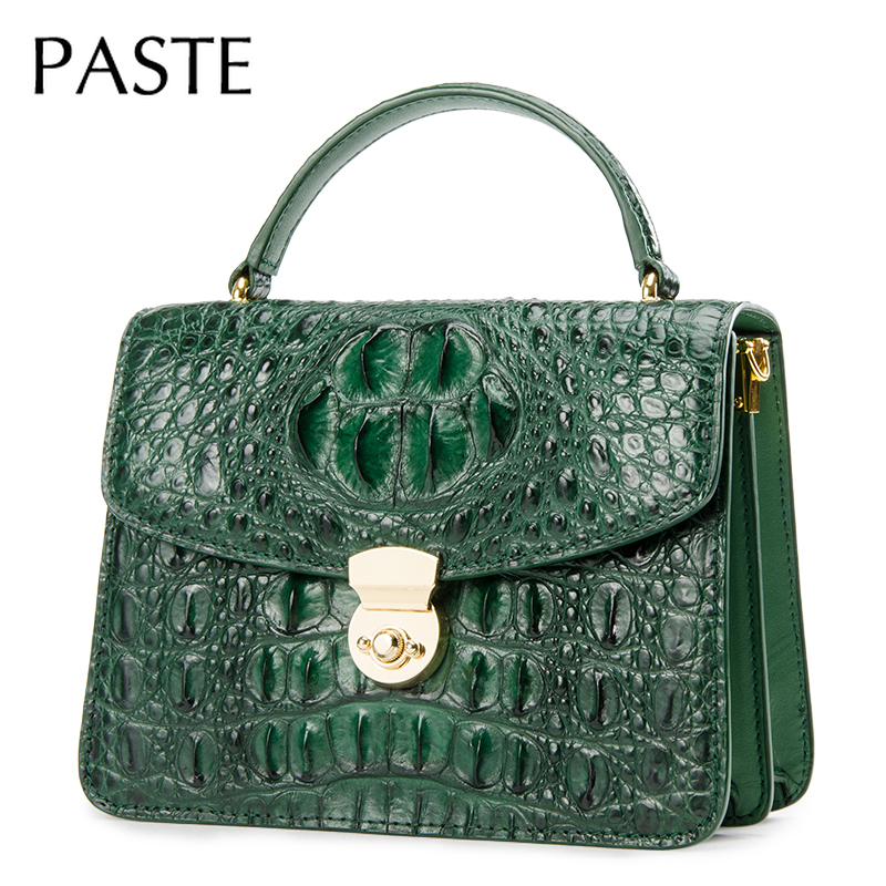 Luxurious Top Quality Crocodile Grain Cow Leather Women Shoulder Bag High Quality Flap Bag Lock Design Business Crossbody Bag