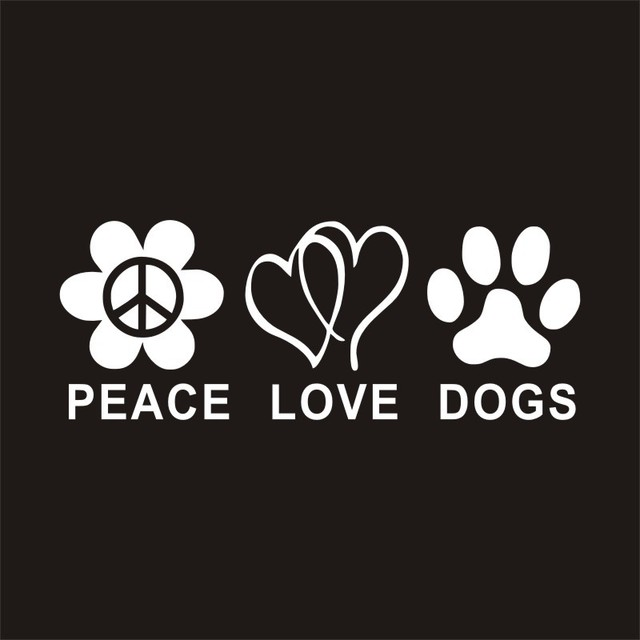 197cm peace love dogs car styling waterproof pvc car sticker wall decoration car decal
