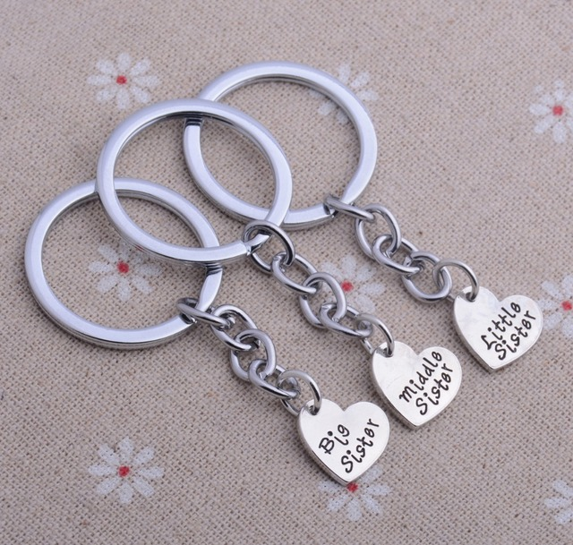 set of 3 big middle little sister love heart best friend gifts