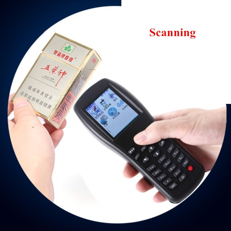 Portable wireless barcode scanner, handheld terminal PDA for warehouse and supermarket POS system, high scanned speed scanner 3d sublimation vacuum printer sublimation heat press machine mug t shirt cell phone case printer cup digital printing machine