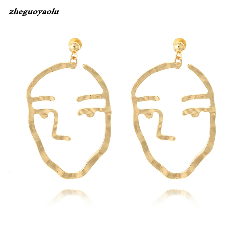 Vintage 2017 New Exaggerated Fashion Gold Tone Face Statement Dangle Earrings For Women Chic Piercing Earrings Bijoux