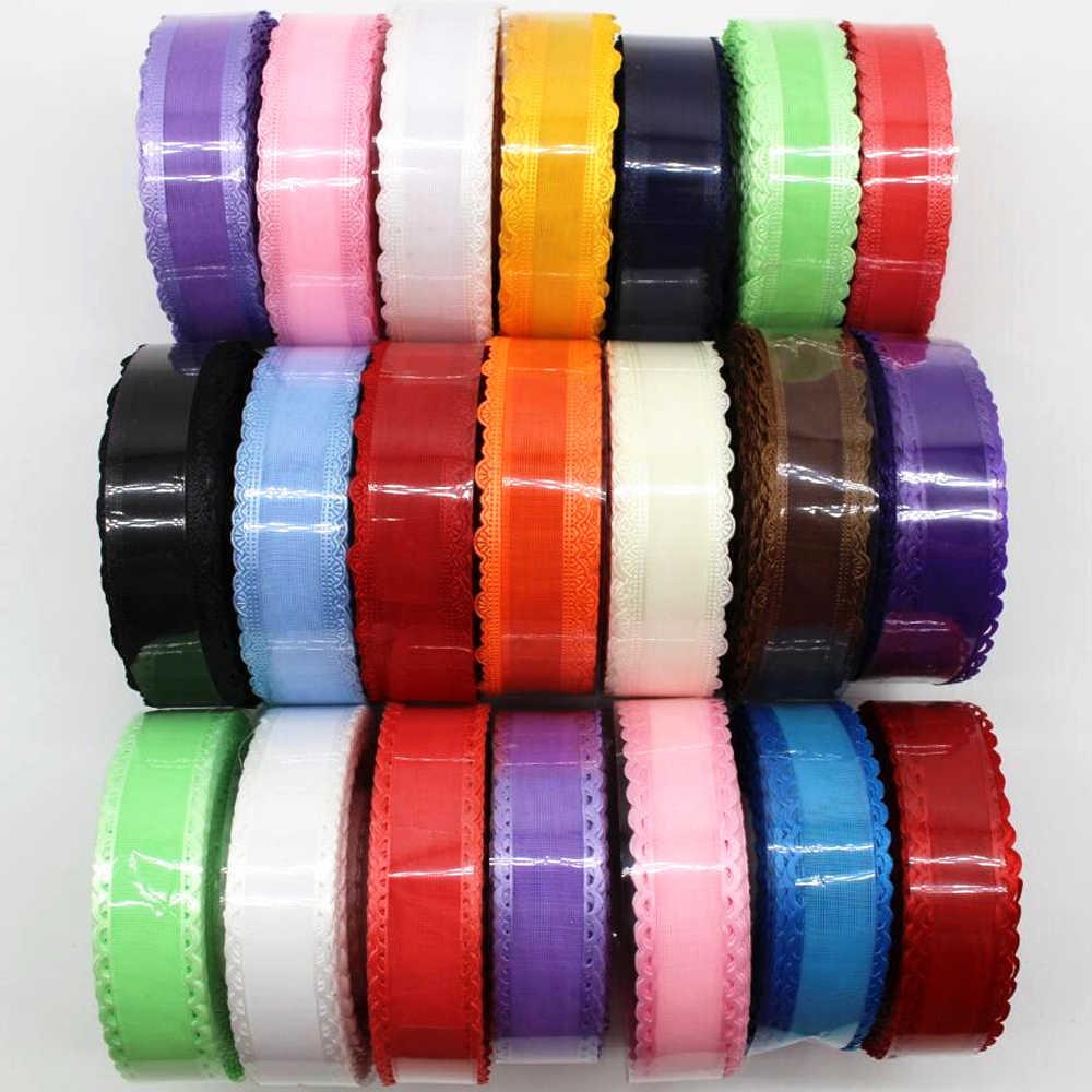 Nuevo 1 '25mm tul encaje cinta 5y 10y 20 yardas DIY hecho a mano moda sombreros moño ropa lado al por mayor Bud de seda