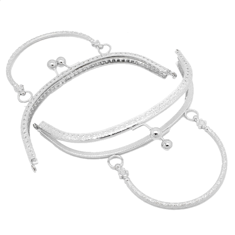 1PC Metal Purse Bag Frame Kiss Clasp Lock Silver Tone Size:16.5x9.5cm