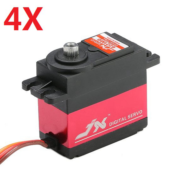 4X JX PDI-6221MG 20KG Large Torque Digital Standard Servo 360 Degree CW jx servo pdi 6115 mg kg 15 large torque torque metal gear steering gear digital hollow cup standards