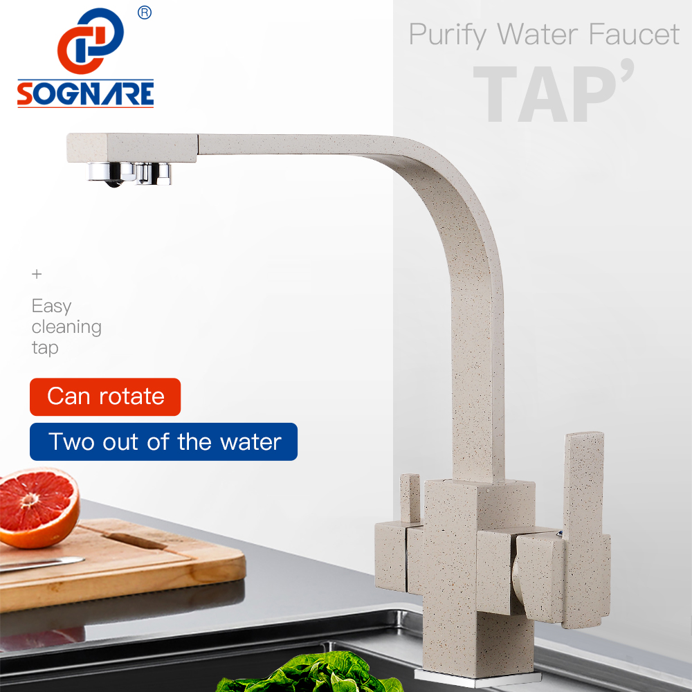 SOGNARE Solid Brass Kitchen Faucet With Filtered Water Marble Kitchen Mixer For Sinks Taps Cold Hot Swivel Drinking Water Faucet