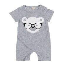 Short Sleeve Cartoon Bear Romper