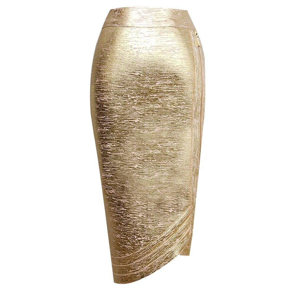 Women Summer Skirt Sexy Designer Gold Bandage Skirt High Street Skinny Mini Pencil Skirts